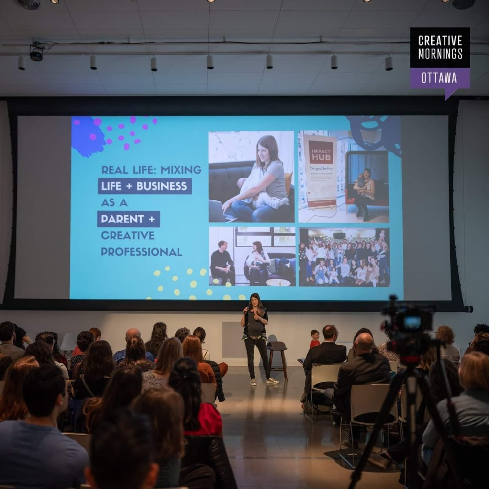 Amy Maureen Lynch Presenting with her kids at CreativeMornings Ottawa April 2019